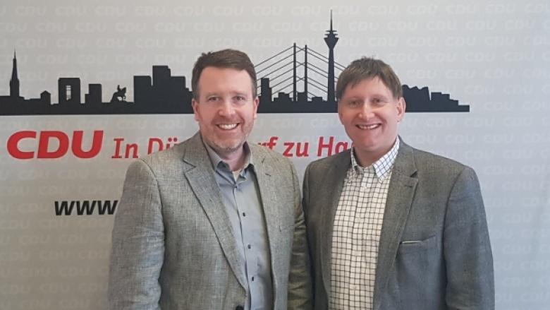 Foto mit Florian Tussing und Jürgen Kirschbaum. Ratskandidaten aus Oberbilk.